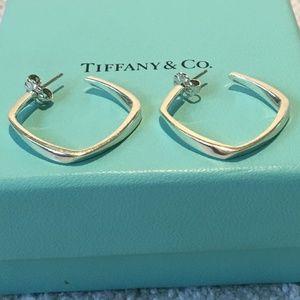 Tiffany Frank Gehry Torque Hoop Square Earrings
